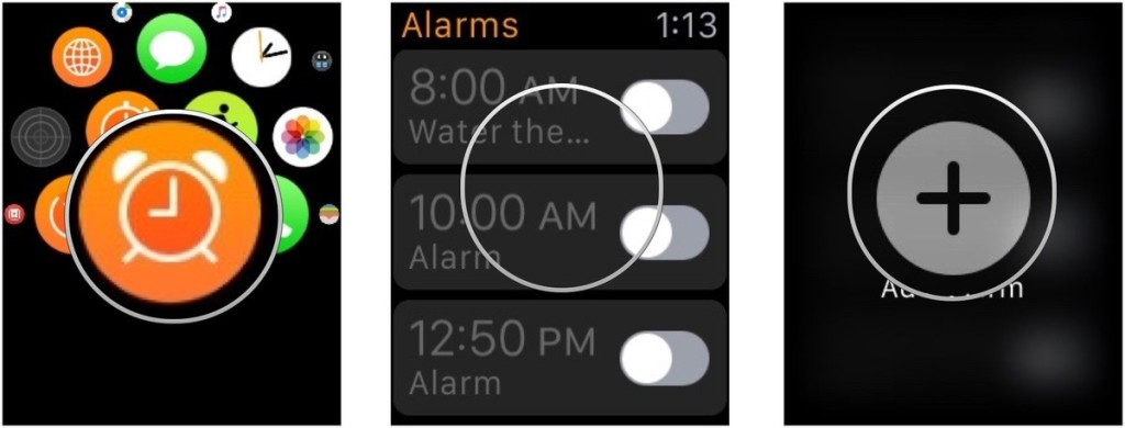 Nightstand-mode-setting an alarm-Apple-Watch-screenshot