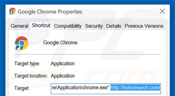 Очищение ярлыков браузера от ссылки на Hohosearch.com